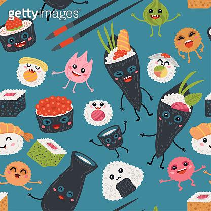 Seamless pattern kawaii rolls and sushi background
