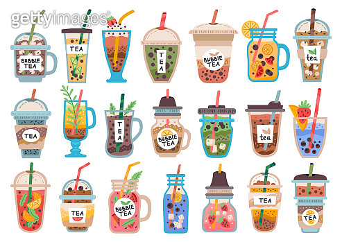 Collection of fruit drinks, smoothies. Bubble tea