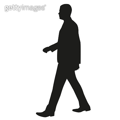 Man walking side view, vector silhouette