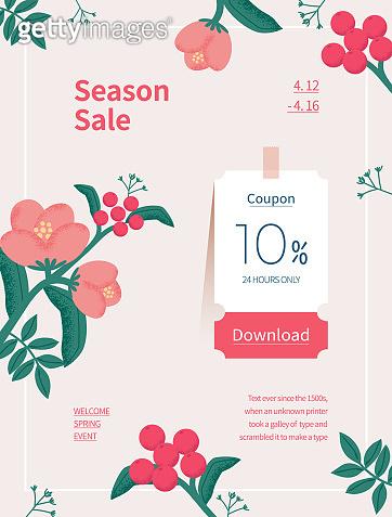Spring season sale. Coupon web page of flower illustration. Flower frame vector illustration.