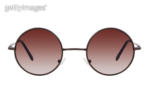 Round sunglasses with a black frame and brown gradient lenses isolated on white background.