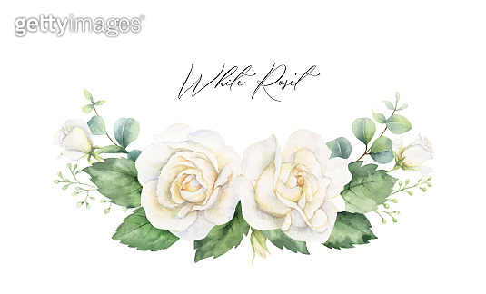 Watercolor vector hand painted wreath with green eucalyptus leaves and white roses. Illustration for cards, wedding invitation, posters, save the date or greeting design isolated on white background.