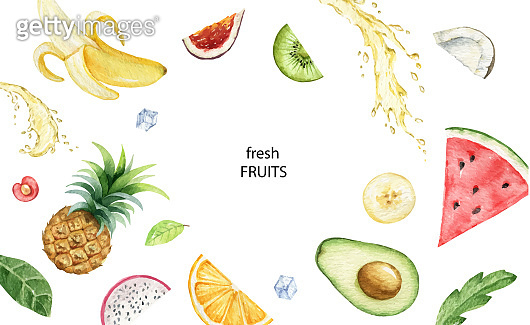 Watercolor vector hand painted card of exotic fruits and juice splashes.