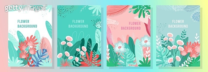 Flowers and leaves background cover design.