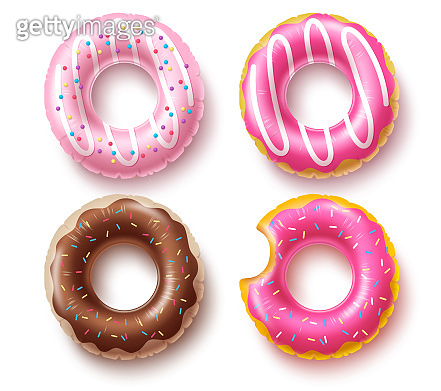 Summer floater donuts set vector design. Inflatable swim rings and rubber toy swimming elements
