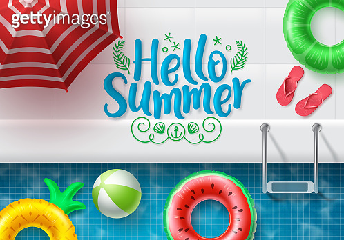 Hello summer vector banner design. Hello summer text in swimming pool side top view background