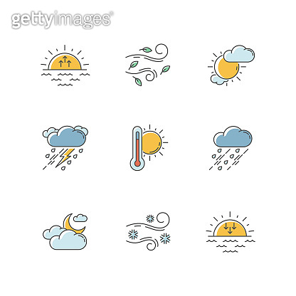 Weather forecast RGB color icons set