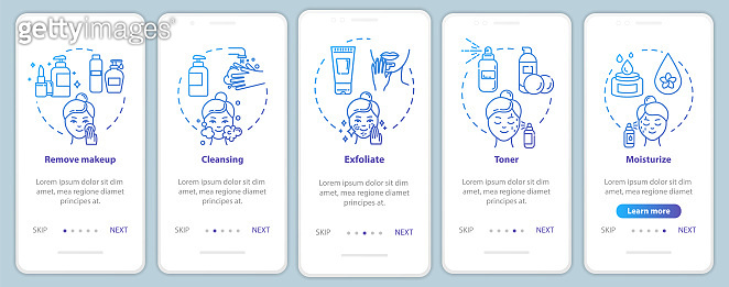 Skicare onboarding mobile app page screen with concepts. Regular masks, facebuilding. Cosmetology walkthrough 5 steps graphic instructions. UI vector template with RGB color illustrations