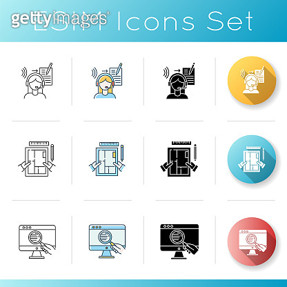 Distant jobs icons set. Freelance translator and interior designer. Web research, apartment designing, article writing. Linear, black and RGB color styles. Isolated vector illustrations
