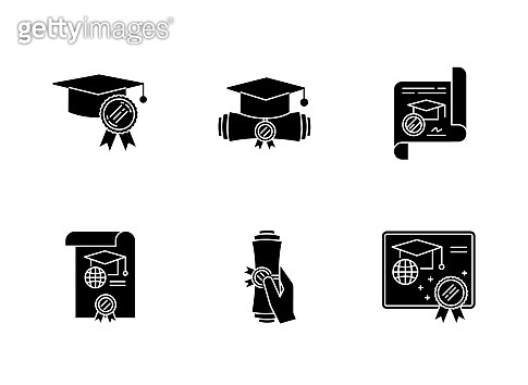 Diploma black glyph icons set on white space. School certificate. Graduation confirmation. Academic document. Degree. Education. Notary services. Silhouette symbols. Vector isolated illustration