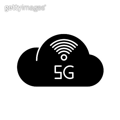 5G cloud service black glyph icon. Cloud computing. Remote workforce. Network storage. Wireless technology. Fast connection. Silhouette symbol on white space. Vector isolated illustration