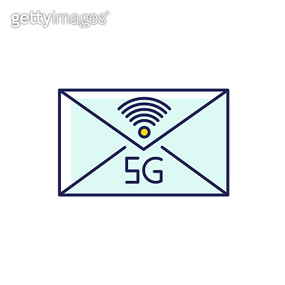 5G envelope RGB color icon. Email exchange. Fast messaging. Mobile cellular network. Communication. Wireless technology. Information transmission. Isolated vector illustration