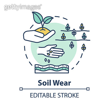 Soil wear concept icon. Industrial damage to nature. Agriculture and agronomy. Cultivation, seedling. Farming idea thin line illustration. Vector isolated outline RGB color drawing. Editable stroke