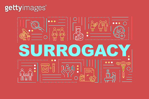 Surrogacy word concepts banner. Nurse assistance in clinic. Female egg donor. Infographics with linear icons on red background. Isolated typography. Vector outline RGB color illustration