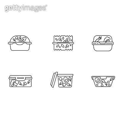 Plastic salad containers pixel perfect linear icons set. Customizable thin line symbols. Reusable food packages. Packed dinner. Take out meal storage. Vector isolated outline drawing. Editable strokes