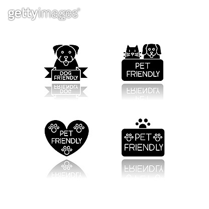 Pet friendly service drop shadow black glyph icons set. Four-legged friends grooming salon. Domestic animals care, cats and dogs allowed areas. Isolated vector illustrations on white space