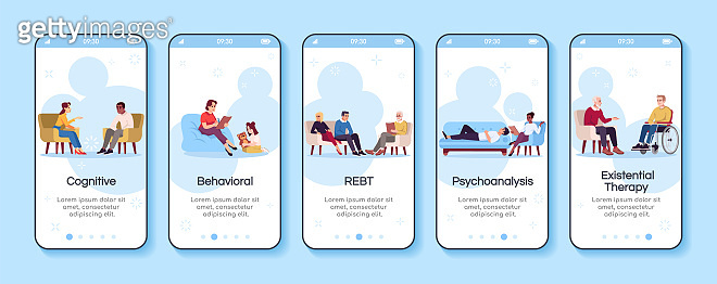 Psychology consultation onboarding mobile app screen vector template. Cognitive, behavioral therapy. Walkthrough website steps with flat characters. UX, UI, GUI smartphone cartoon interface concept