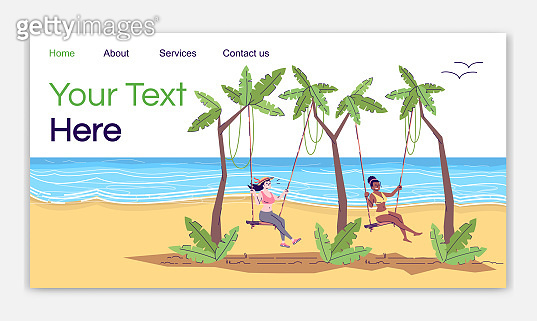 Swing resort landing page vector template. Indonesia tourism. Two women at seaside. Bali beach website interface idea with flat illustrations. Homepage layout. Web banner, webpage cartoon concept