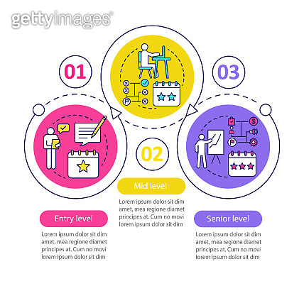 Work experience vector infographic template. Business presentation design elements. Data visualization with three steps and options. Process timeline chart. Workflow layout with linear icons