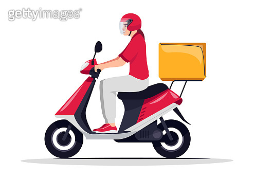 Order delivery service semi flat RGB color vector illustration