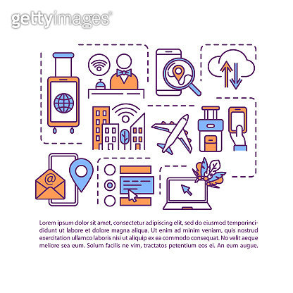 Roaming, Internet coverage concept icon with text. Hotel and inflight Wi-fi, free and paid network. PPT page vector template. Brochure, magazine, booklet design element with linear illustrations