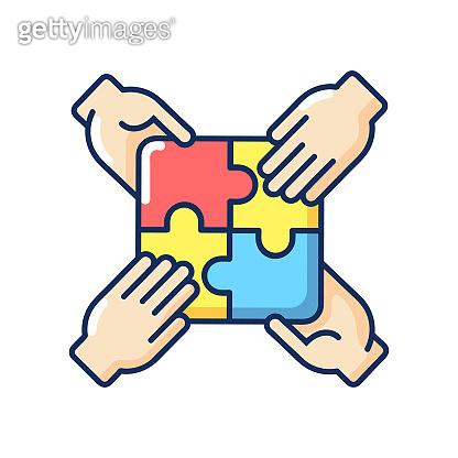 Teamwork building RGB color icon