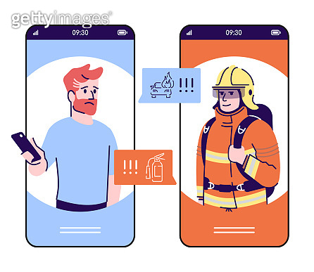 Emergency call smartphone cartoon app screen. Mobile phone displays with flat characters design mockup. Firefighter, rescuer urgency call via telephone application interface. Vector illustration