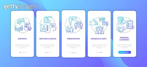 Project development stages onboarding mobile app page screen with concepts set