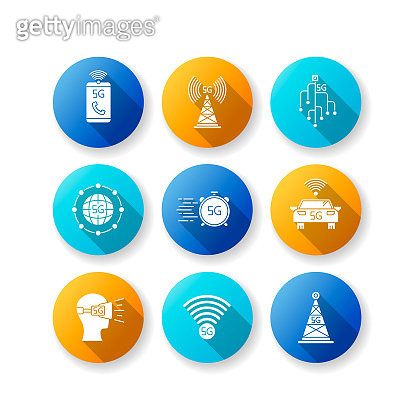 5G wireless technology flat design long shadow glyph icons set. Cell tower, improved phone calls. VR headset. Fast connection. Mobile cellular network. Silhouette RGB color illustration