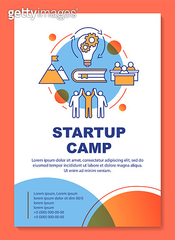 Businessman, company owner camp brochure template layout. Flyer, booklet, leaflet print design with linear illustrations. Vector page layouts for magazines, annual reports, advertising posters
