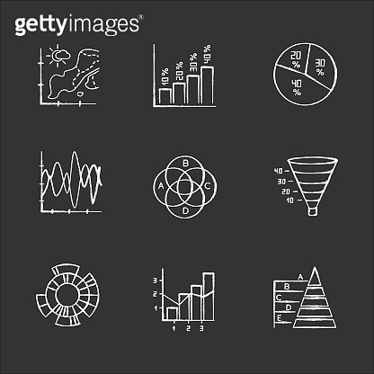 Chart and graph chalk icons set. Temperature map. Vertical histogram. Pie diagram. Funnel chart. Venn diagram. Sunburst graph. Mixed chart. Pyramid. Isolated vector chalkboard illustrations