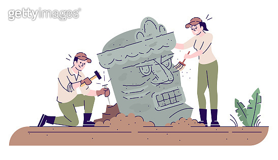 Archaeologists researching ancient sculpture flat vector illustration. Archaeology. Man and woman studying lost civilization isolated cartoon characters with outline elements on white background