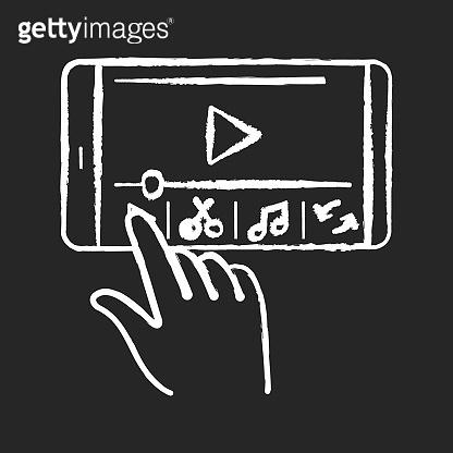 Smartphone film making chalk white icon on black background