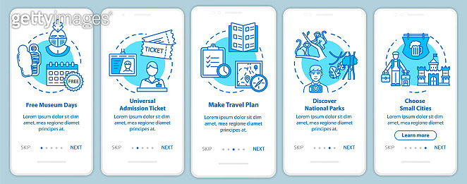 Excursions onboarding mobile app page screen with concepts. Free admissions. Small town. Cheap tourism walkthrough five steps graphic instructions. UI vector template with RGB color illustrations