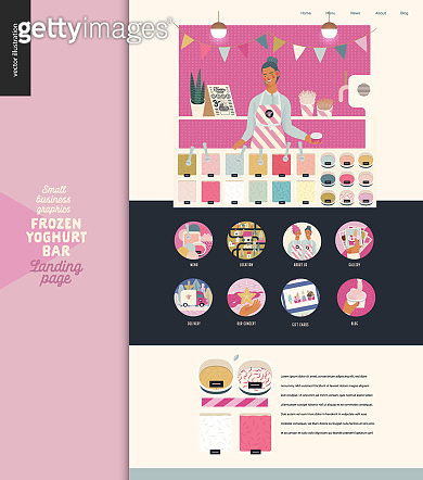 Frozen yoghurt bar - small business graphics - landing page design template