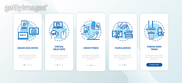 Home education and entertainment onboarding mobile app page screen with concepts. Rest and learning walkthrough 5 steps graphic instructions. UI vector template with RGB color illustrations