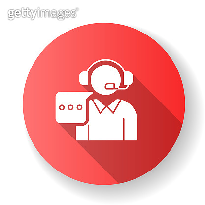 Customer support red flat design long shadow glyph icon. Call, contact center. Telephone consultant. Phone operator. Online technical service. Helpline. Consultation. Silhouette RGB color illustration