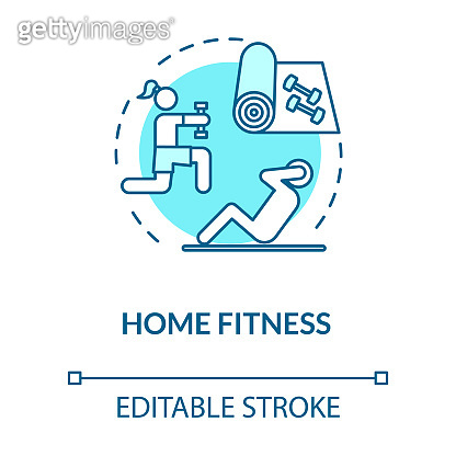 Home fitness turquoise concept icon. Sport indoors. Exercise inside. Physical activity. Quarantine healthcare idea thin line illustration. Vector isolated outline RGB color drawing. Editable stroke