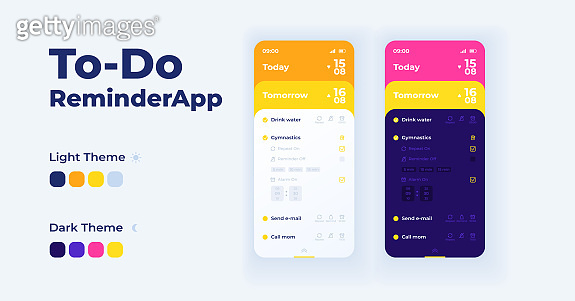 To do reminder app cartoon smartphone interface vector templates set