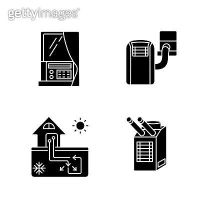 Home conditioning black glyph icons set on white space