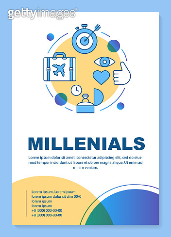 Millennials poster template layout. Age group. Gen Y lifestyle. Core values. Banner, booklet, leaflet print design with linear icons. Vector brochure page layouts for magazines, advertising flyers