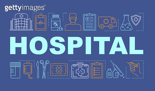 Hospital word concepts banner. Medical services. Therapy, surgery, treatment. Presentation, website. Isolated lettering typography idea with linear icons. Vector outline illustration