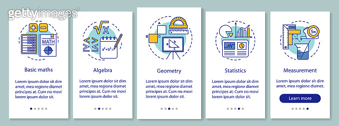 Mathematics courses onboarding mobile app page screen with linear concepts. Math lessons walkthrough five steps graphic instructions. UX, UI, GUI vector template with illustrations