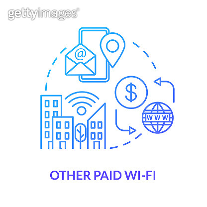 Other paid wifi blue concept icon. Public service. Free internet zone. Global telecommunication. 4g signal in city. Roaming idea thin line illustration. Vector isolated outline RGB color drawing