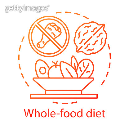 Vegetarian nutrition, whole food diet concept icon. Vegan lifestyle idea thin line illustration. Healthy meal, fastfood abstention. Chicken, walnut and vegetable salad vector isolated outline drawing