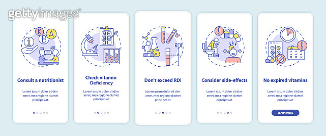 Vitamin consumption tips onboarding mobile app page screen with concepts