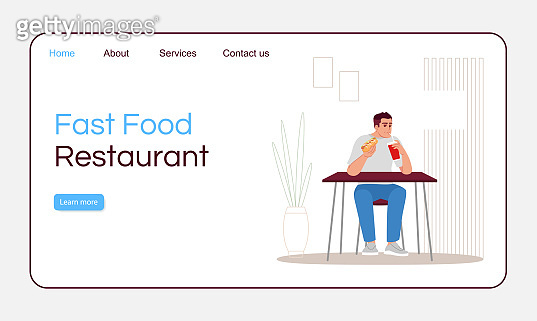 Fast food restaurant landing page vector template. Unhealthy nutrition website interface idea with flat illustrations. Takeaway service homepage layout. Delicious snacks cartoon web banner, webpage