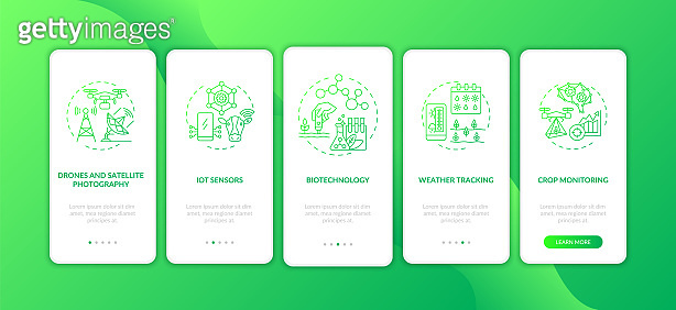 Innovative agriculture technology onboarding mobile app page screen with concepts