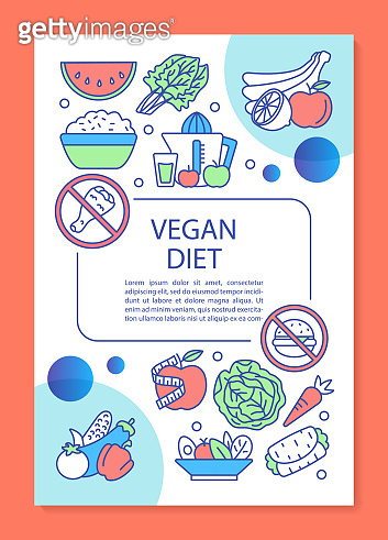 Whole food diet brochure template layout. Vegetarian lifestyle flyer, booklet, leaflet print design with linear illustrations. Vector page layouts for magazines, annual reports, advertising posters