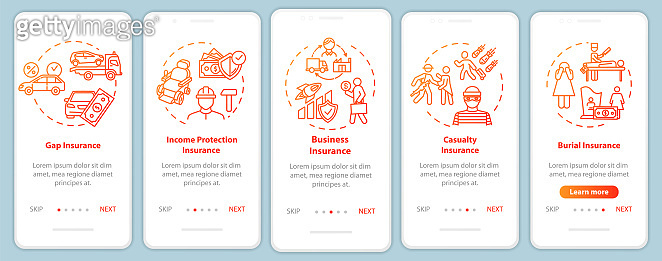 Insurance for business onboarding mobile app page screen with concepts. Protection from casualty. Company walkthrough 5 steps graphic instructions. UI vector template with RGB color illustrations